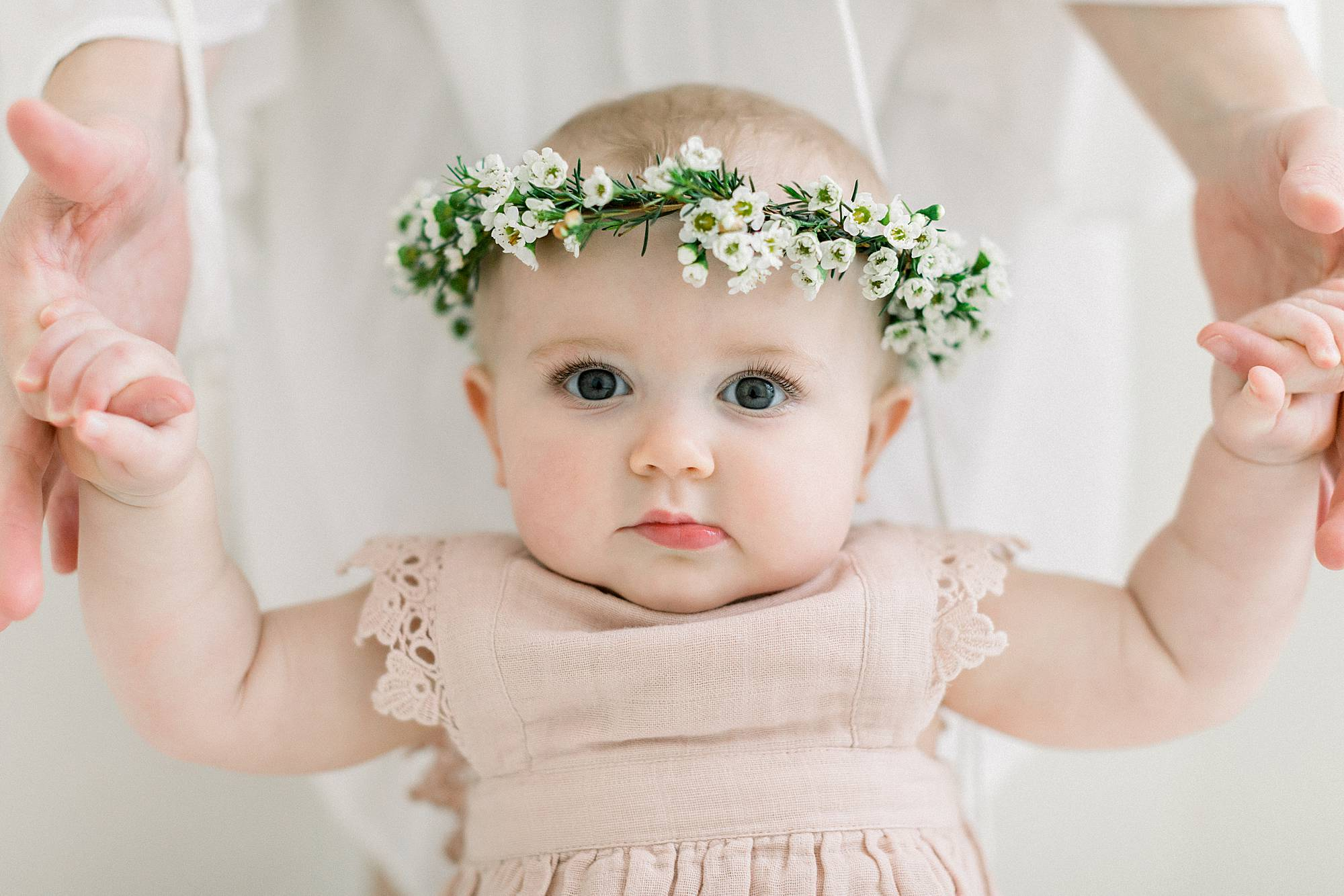 one year old girl with floral crown