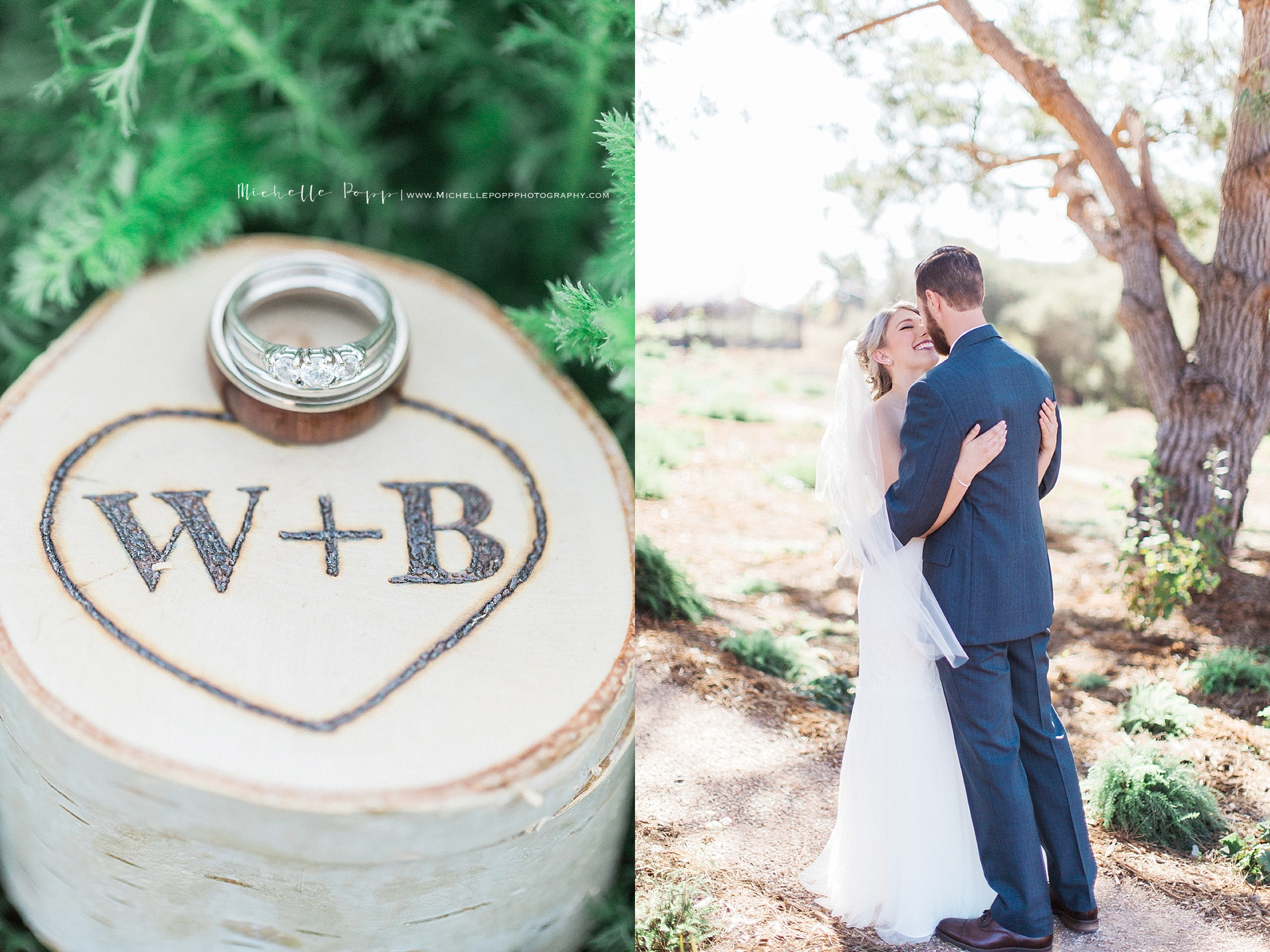 Bride + Groom kissing & close up of rings on engraved box