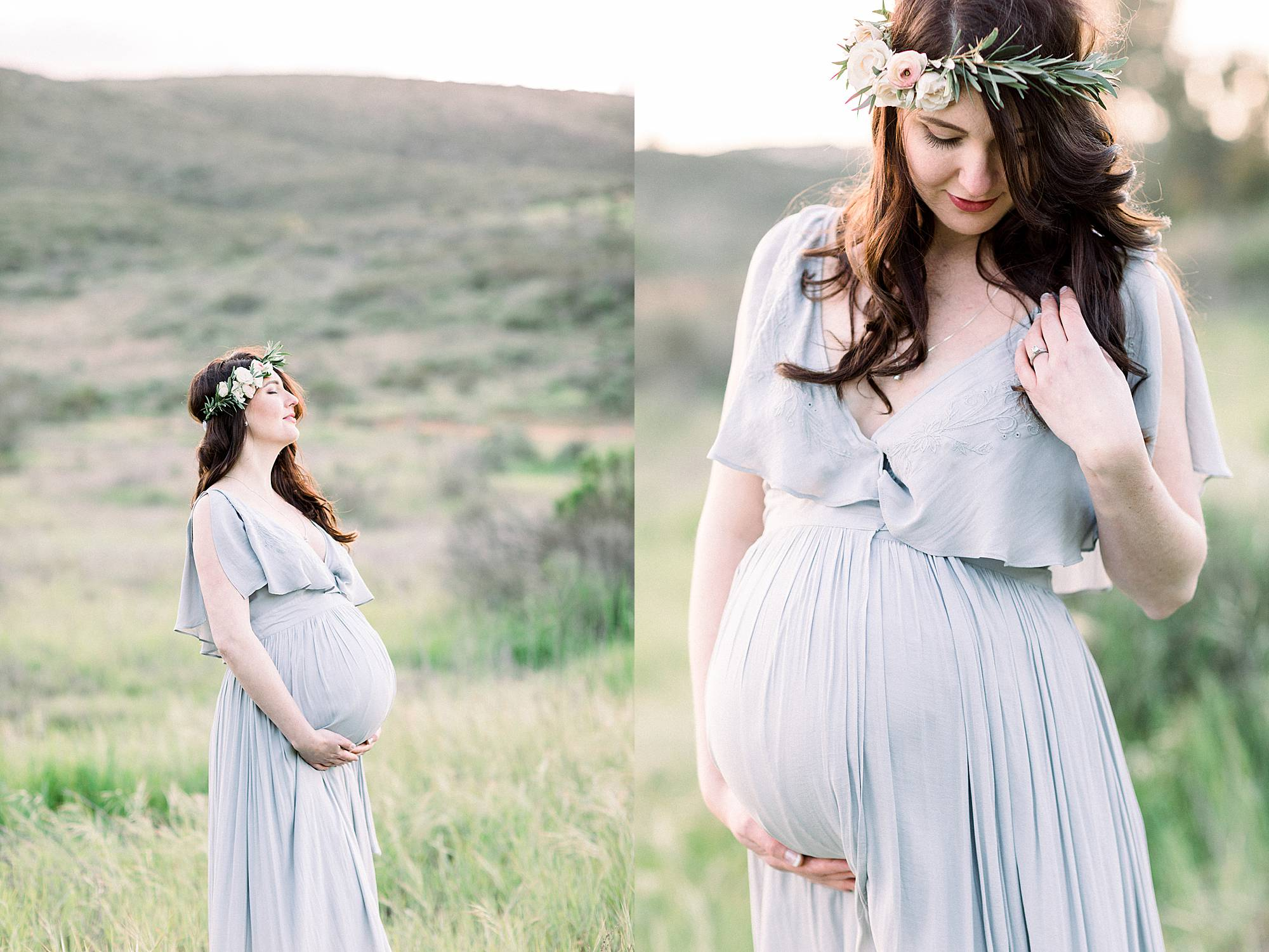 outdoor maternity photo in field
