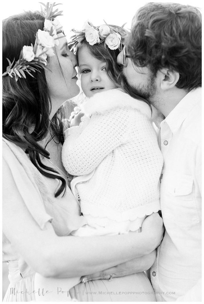 black and white family close up